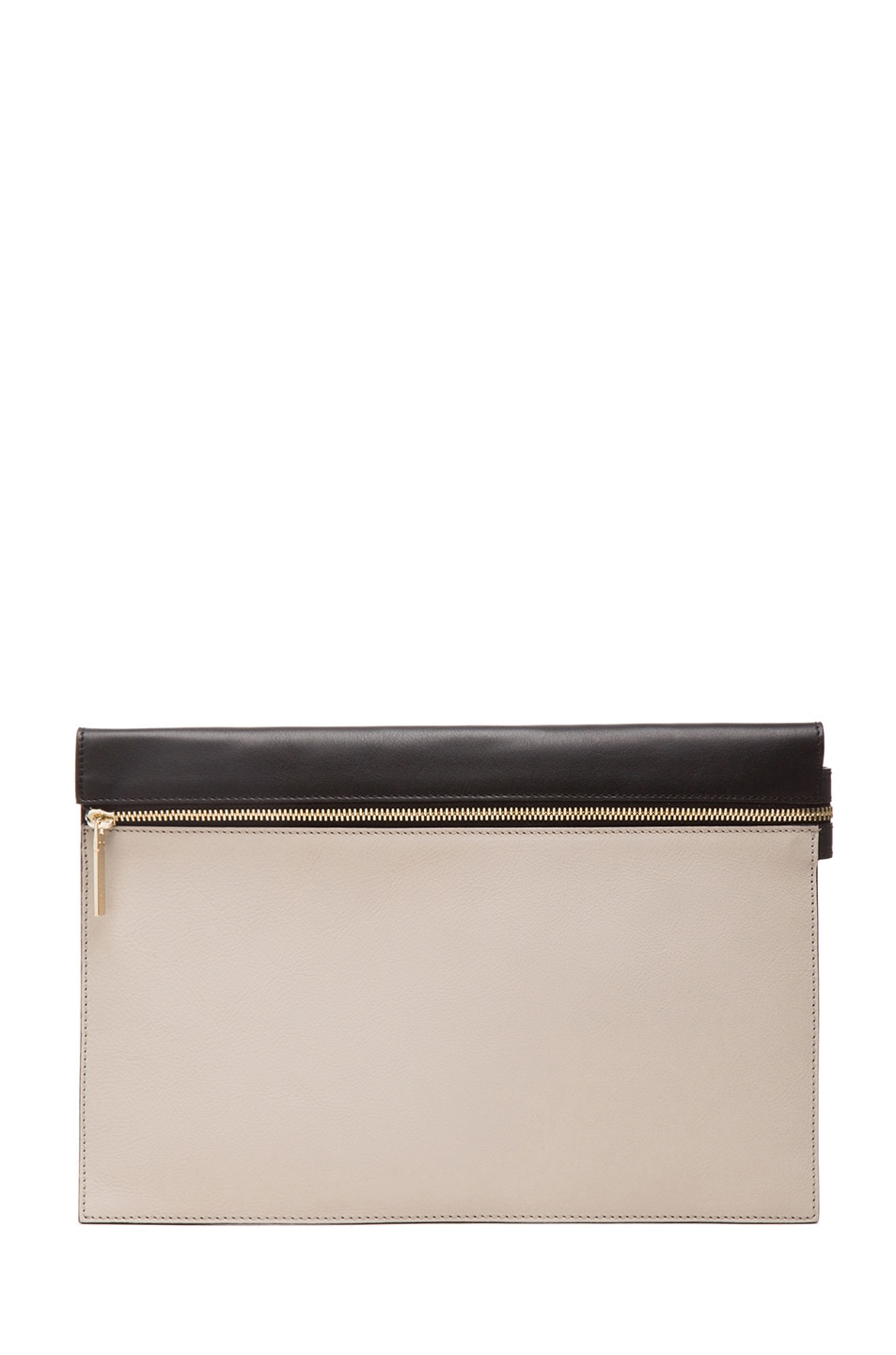 Image 1 of Victoria Beckham Large Zip Pouch in Light Grey & Black