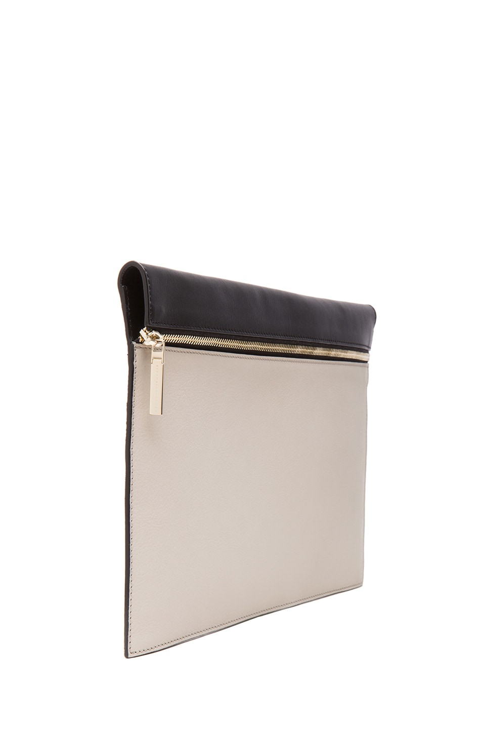 Image 3 of Victoria Beckham Large Zip Pouch in Light Grey & Black