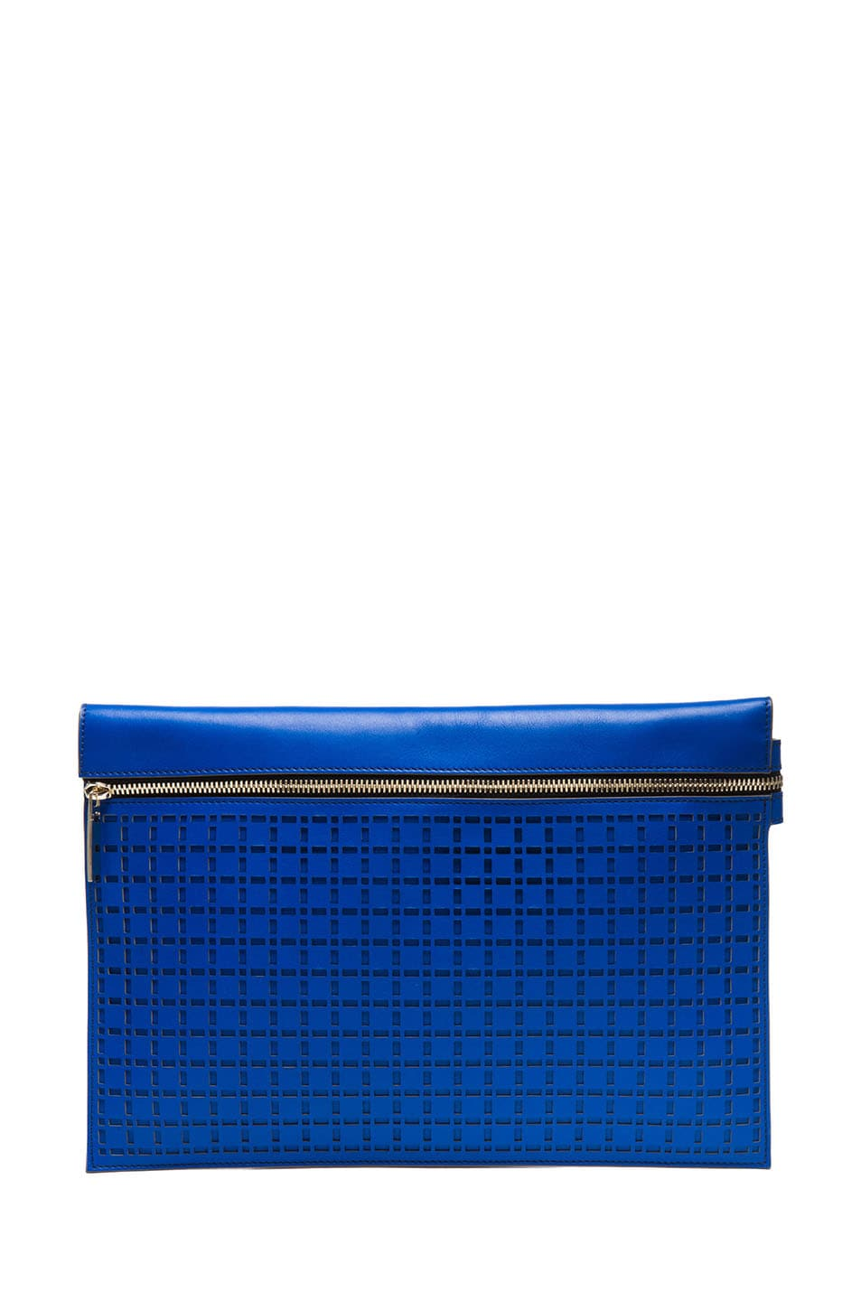 Image 1 of Victoria Beckham Large Zip Pouch in Bright Blue