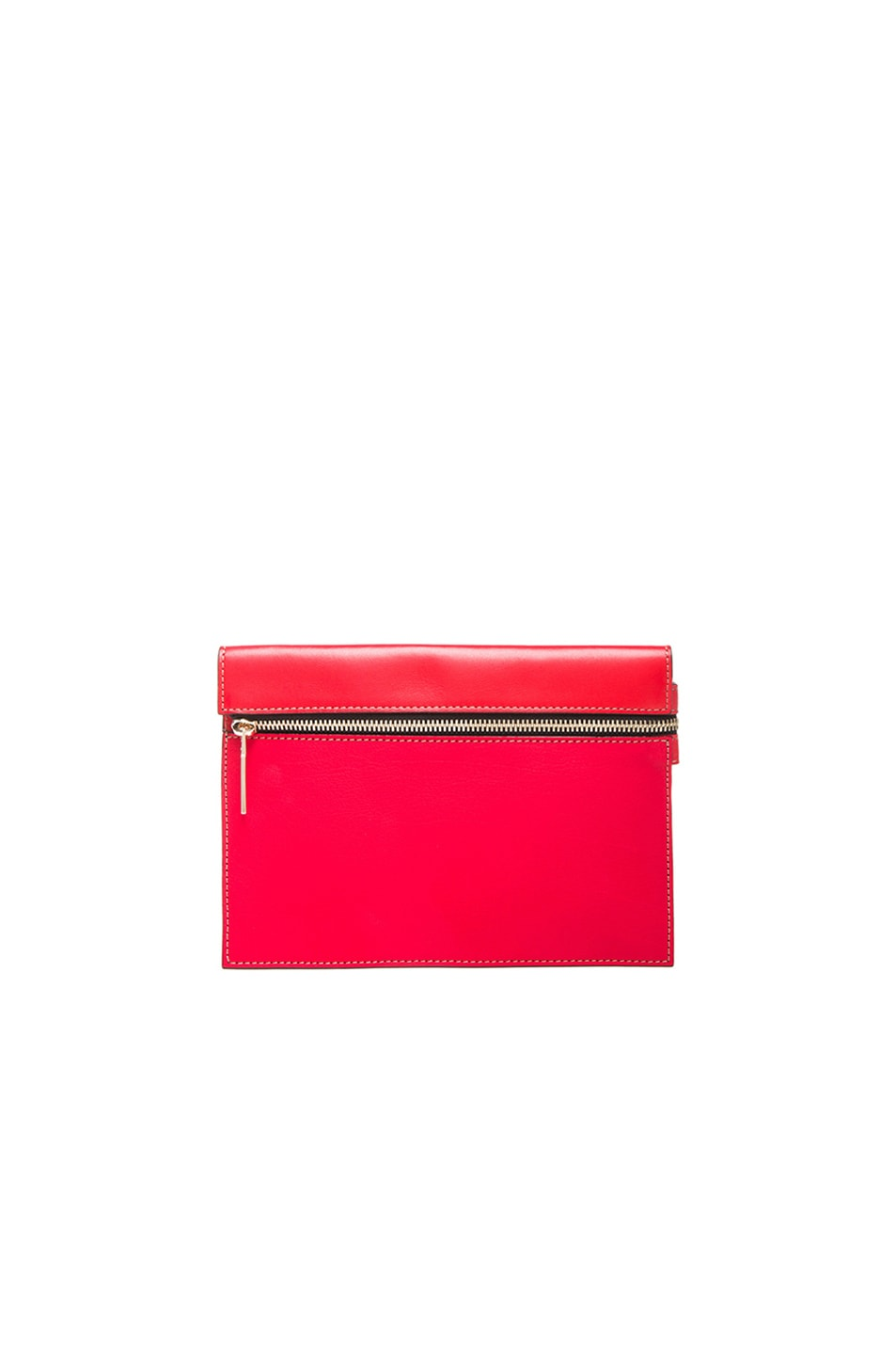Image 1 of Victoria Beckham Small Zip Pouch in Pom Pom Red