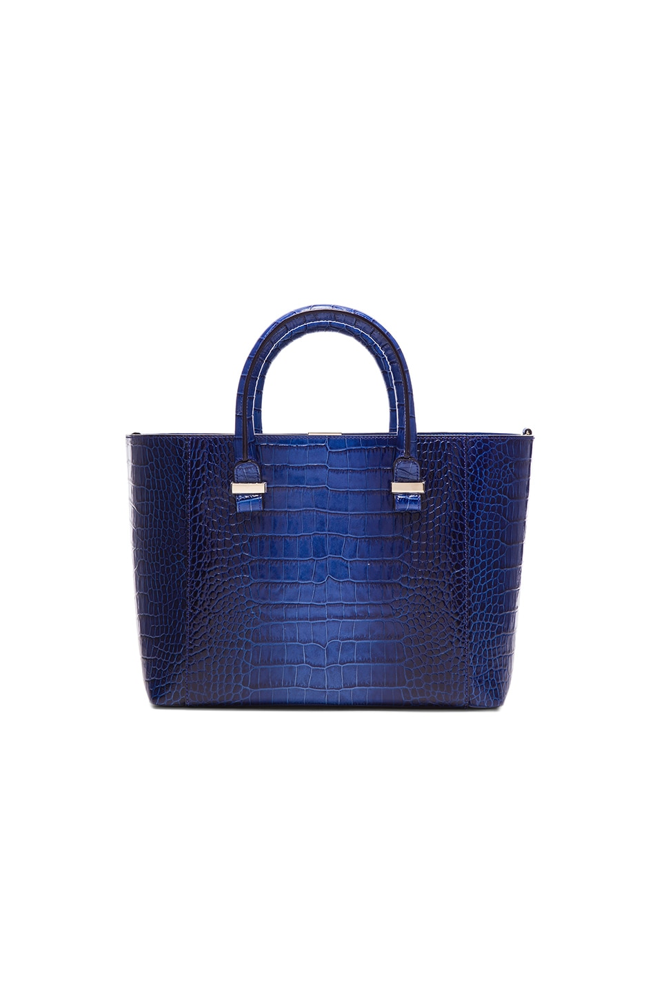 Image 1 of Victoria Beckham Quincy Printed Crocodile Tote in Electric Blue