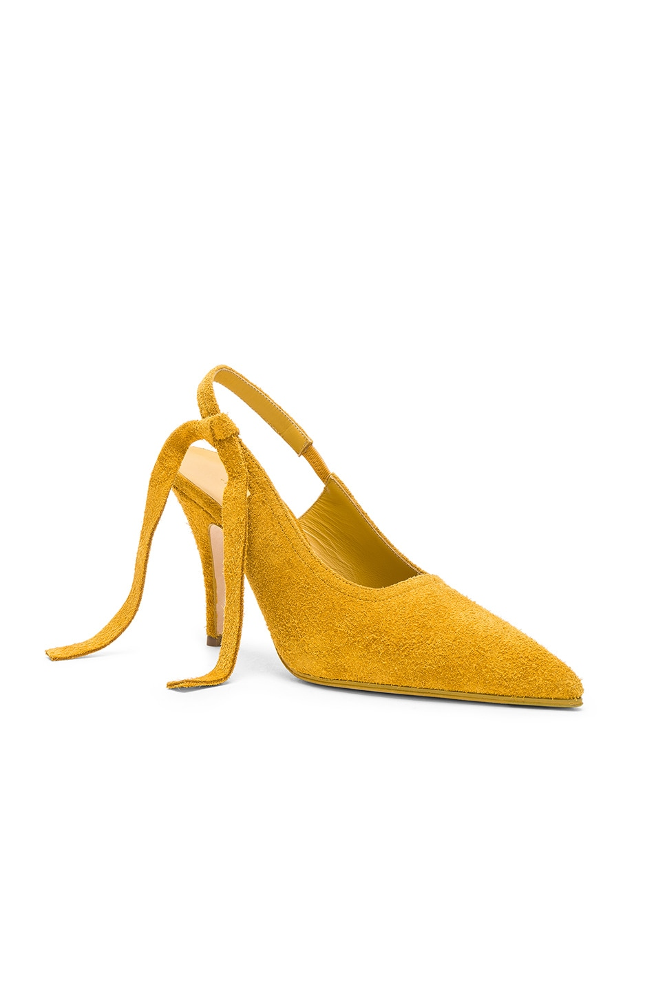 Image 2 of Victoria Beckham Suede Dorothy Sling Back Pumps in Yellow