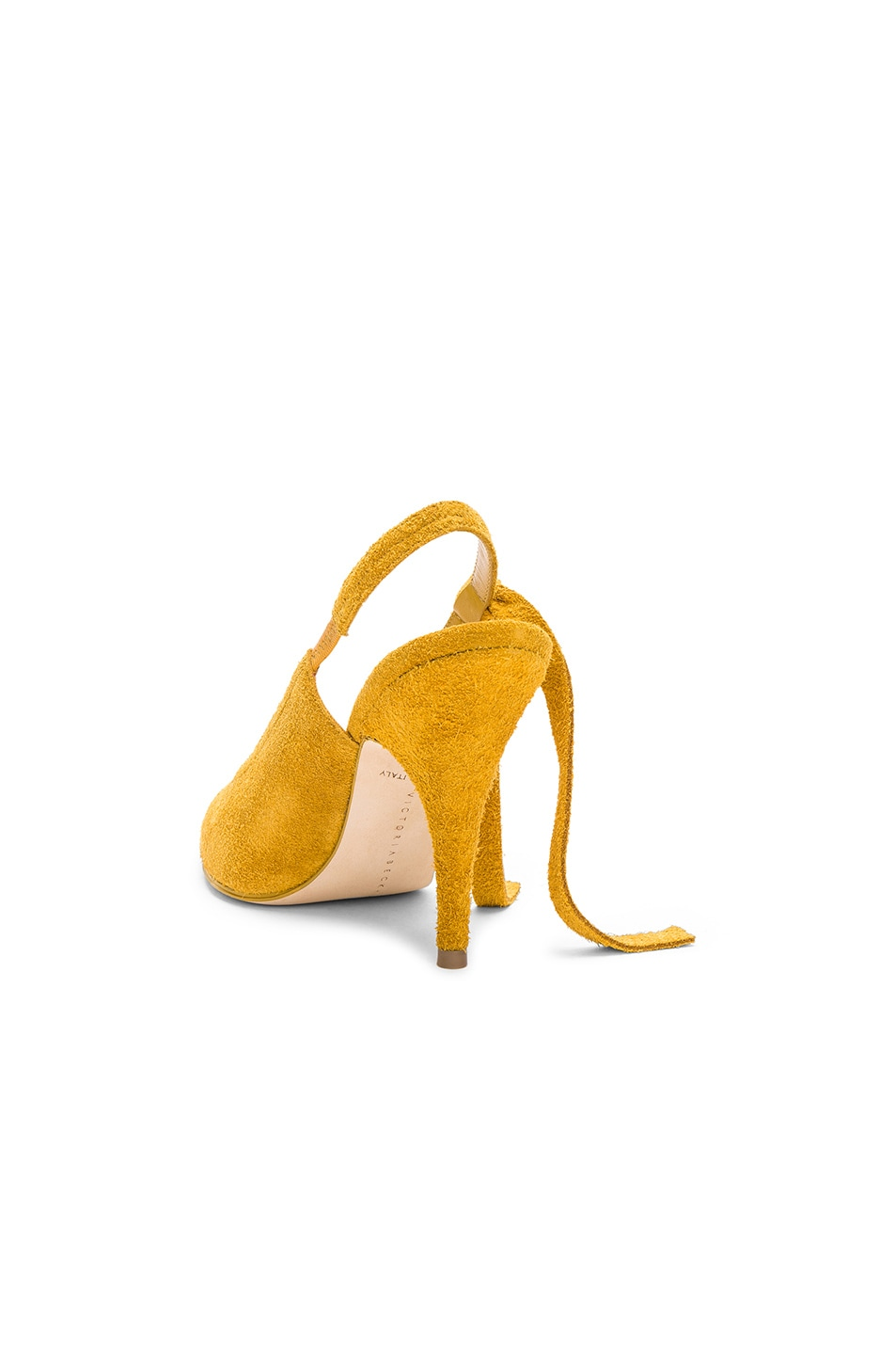 Image 3 of Victoria Beckham Suede Dorothy Sling Back Pumps in Yellow