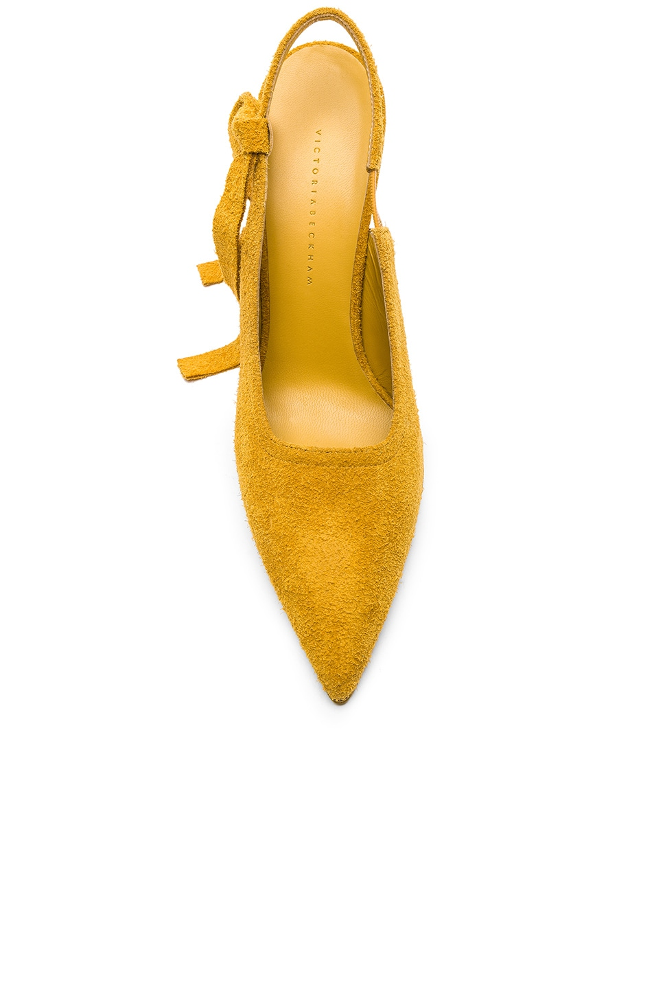 Image 4 of Victoria Beckham Suede Dorothy Sling Back Pumps in Yellow