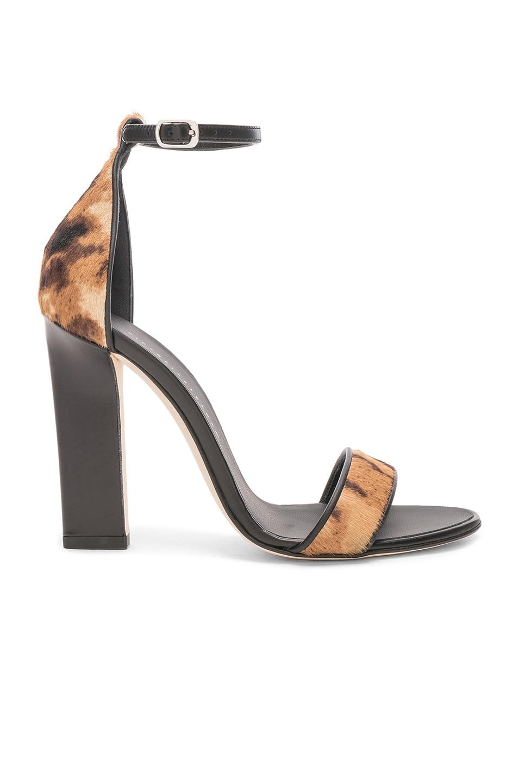 Image 1 of Victoria Beckham Ponyhair Anna Ankle Strap Sandals in Leopard Print