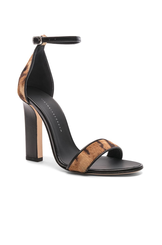 Image 2 of Victoria Beckham Ponyhair Anna Ankle Strap Sandals in Leopard Print