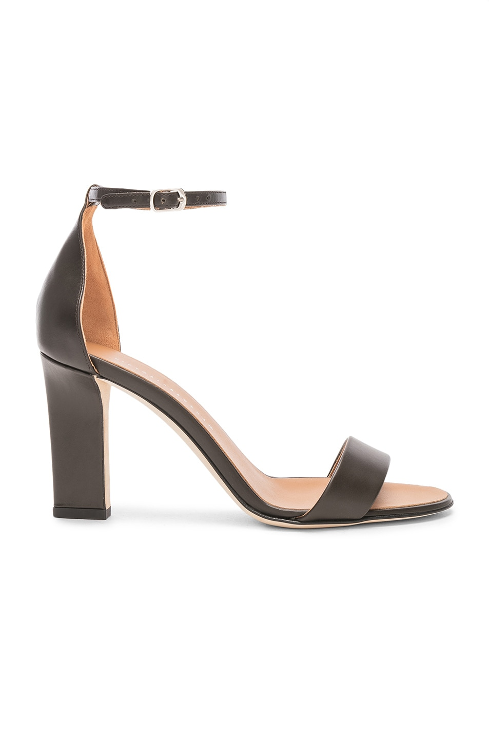 Image 1 of Victoria Beckham Leather Anna Ankle Strap Sandals in Khaki