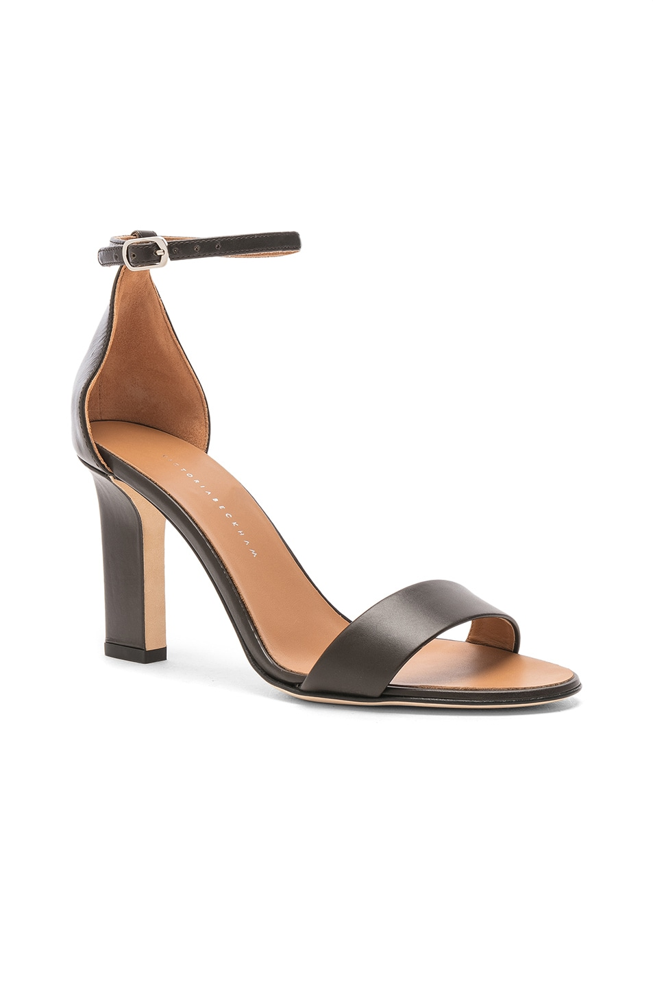 Image 2 of Victoria Beckham Leather Anna Ankle Strap Sandals in Khaki