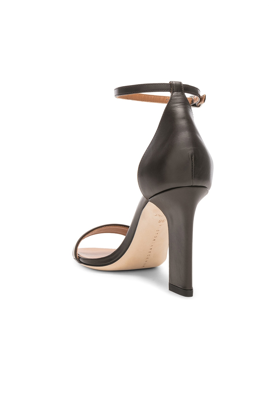 Image 3 of Victoria Beckham Leather Anna Ankle Strap Sandals in Khaki