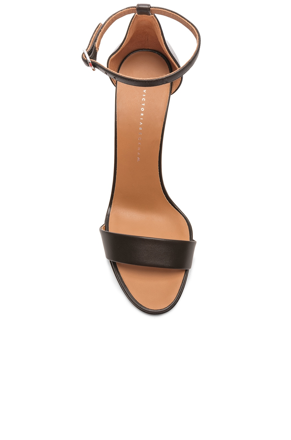 Image 4 of Victoria Beckham Leather Anna Ankle Strap Sandals in Khaki
