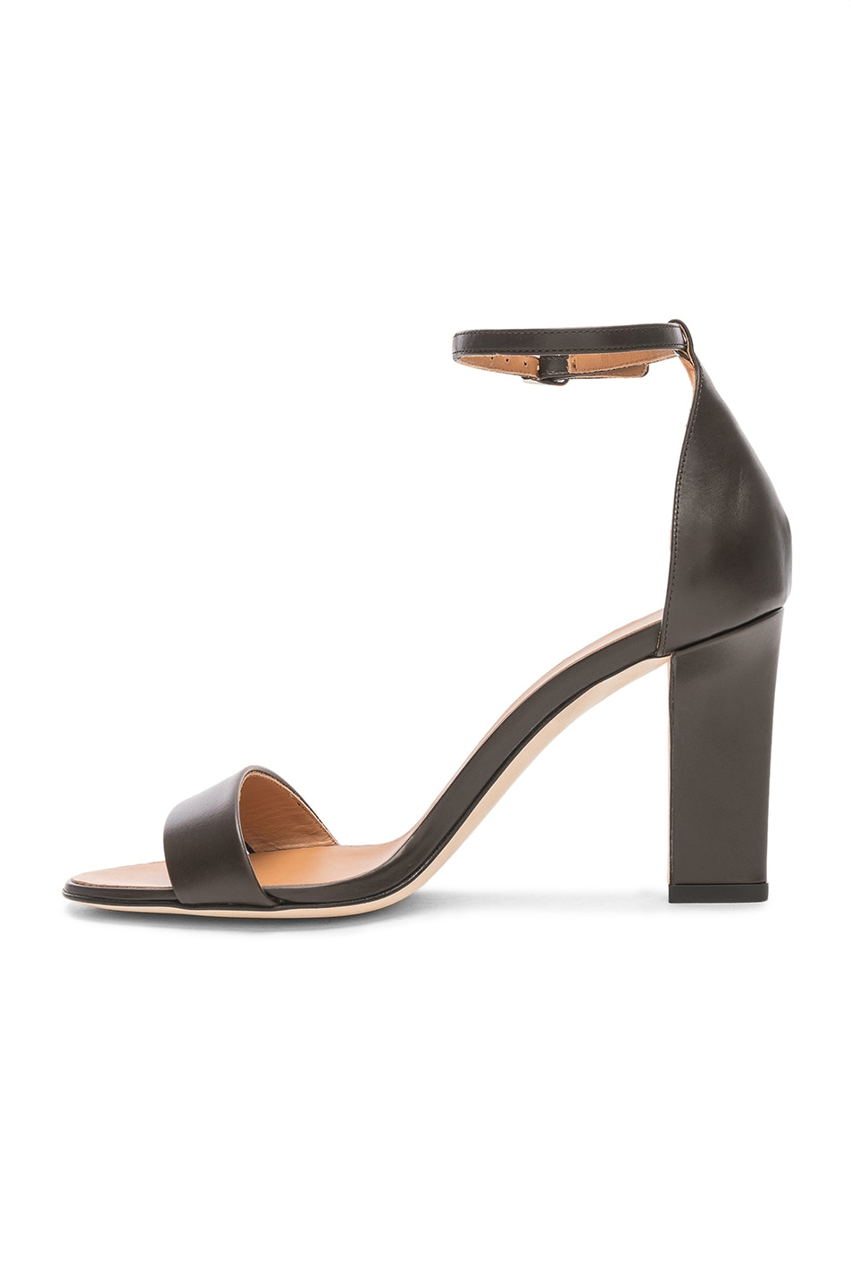 Image 5 of Victoria Beckham Leather Anna Ankle Strap Sandals in Khaki