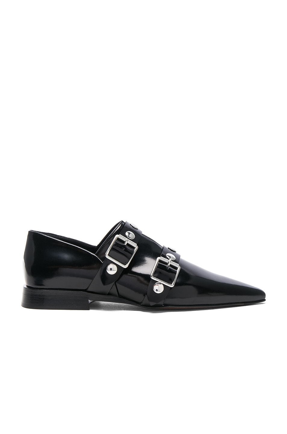 Image 1 of Victoria Beckham Leather Buckle Flats in Black