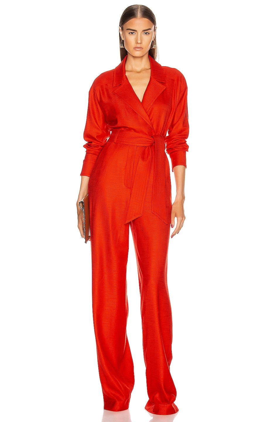 Image 1 of Veronica Beard Lionel Jumpsuit in Red