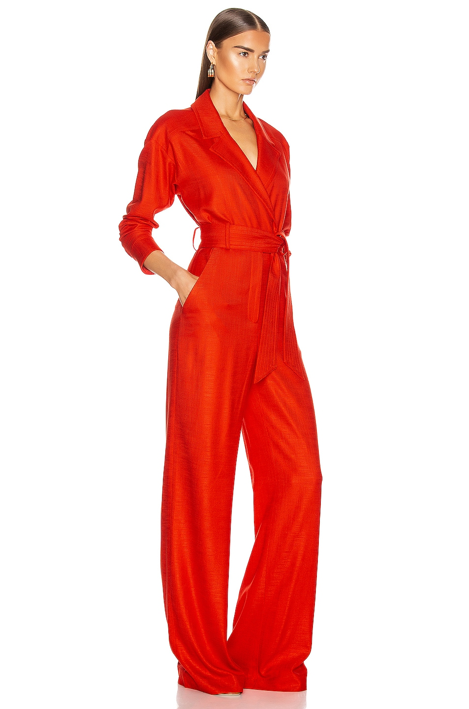Image 2 of Veronica Beard Lionel Jumpsuit in Red