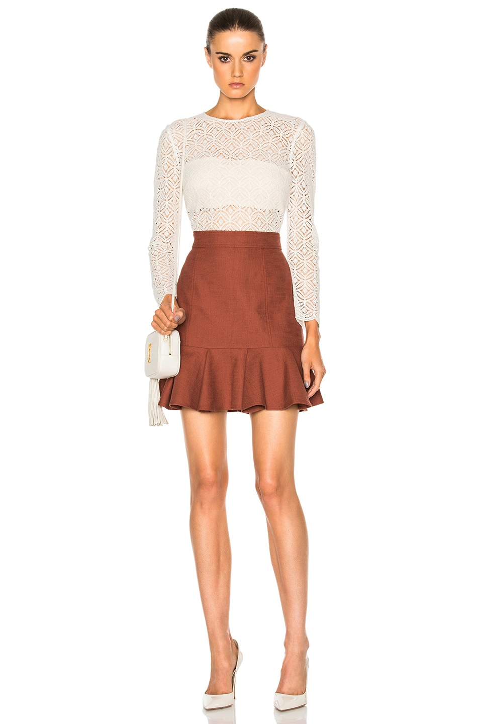 Image 1 of Veronica Beard Bex Crew Neck Combo Dress in White & Rust