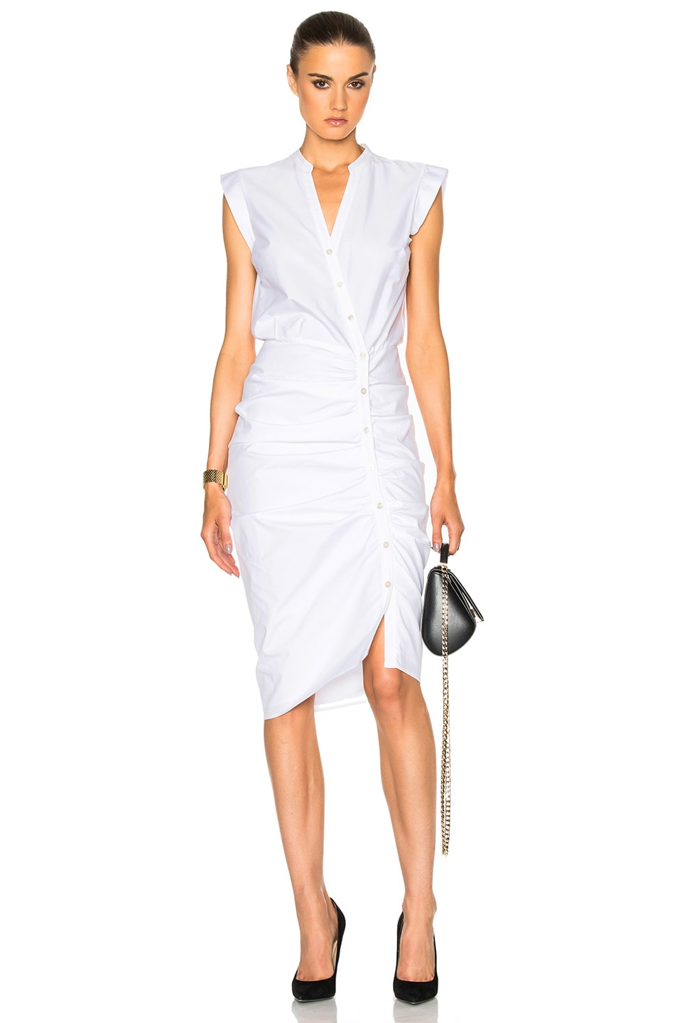 Image 1 of Veronica Beard Ruched Shirt Dress in White