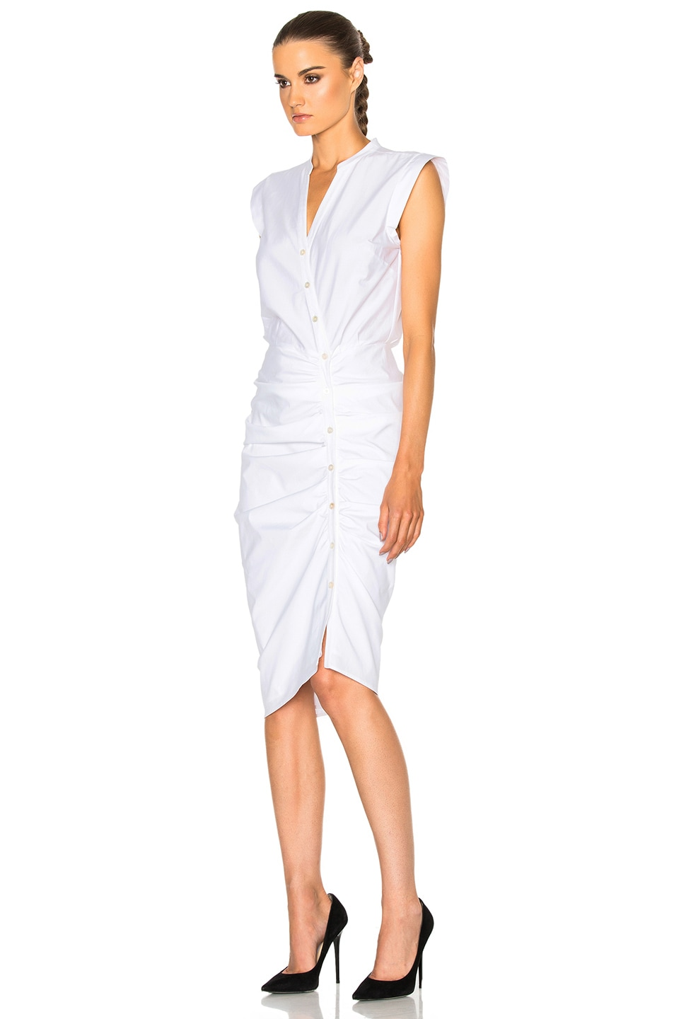 Image 2 of Veronica Beard Ruched Shirt Dress in White