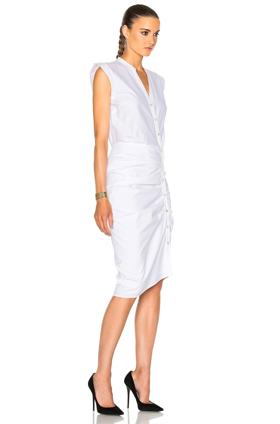 Image 3 of Veronica Beard Ruched Shirt Dress in White