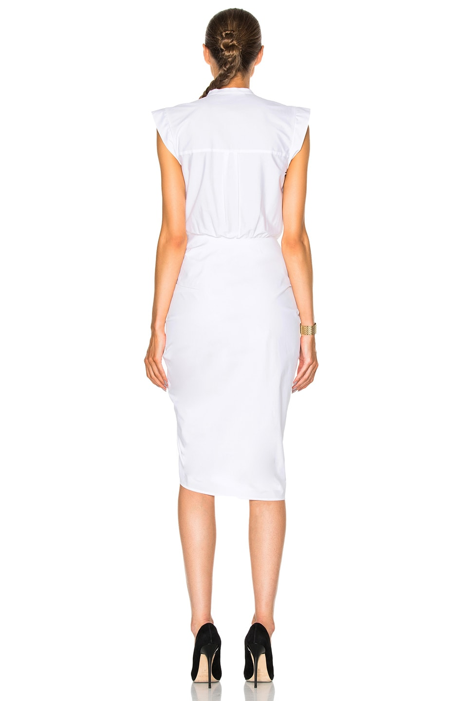 Image 4 of Veronica Beard Ruched Shirt Dress in White