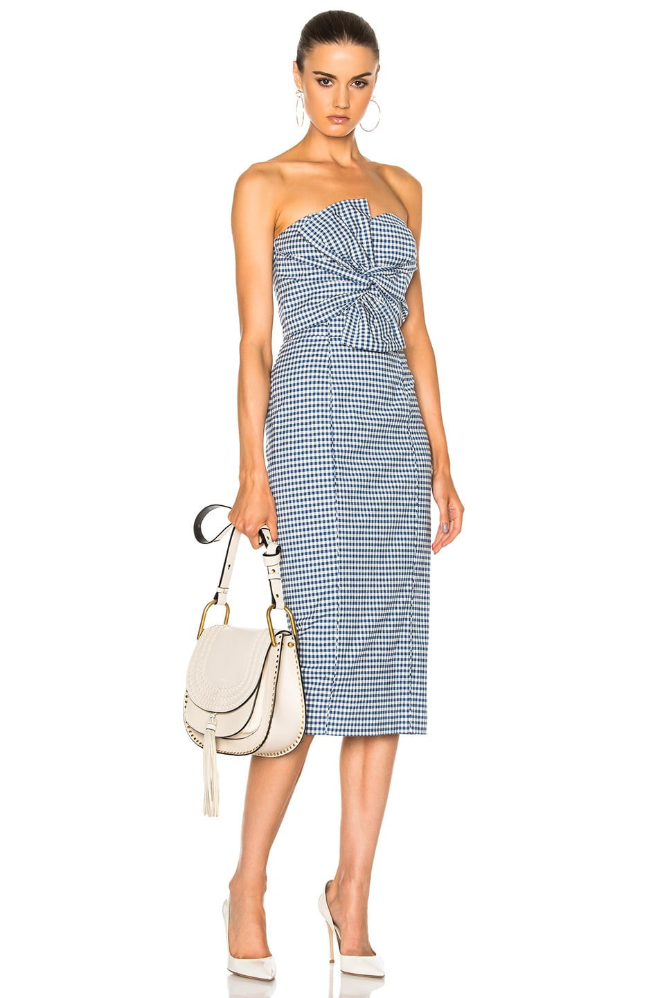 Image 1 of Veronica Beard Birdie Bow Dress in Blue & White