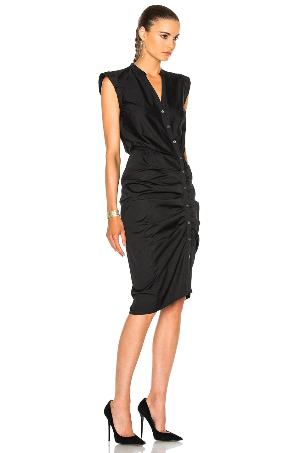 veronica beard ruched shirt dress in black modesens