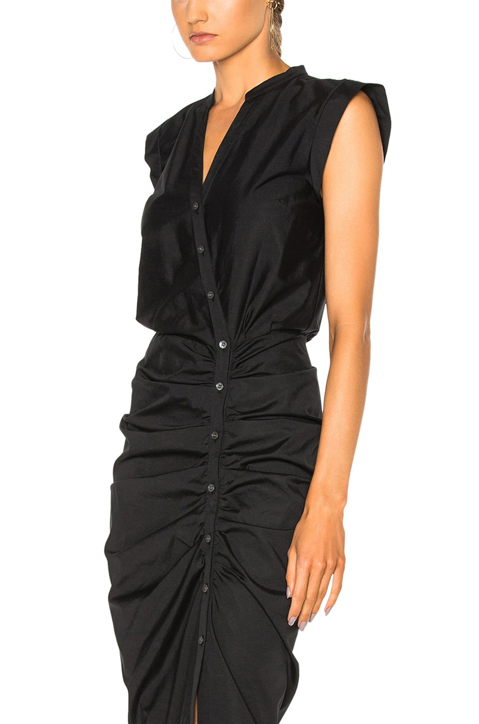 Image 6 of Veronica Beard Ruched Shirt Dress in Black