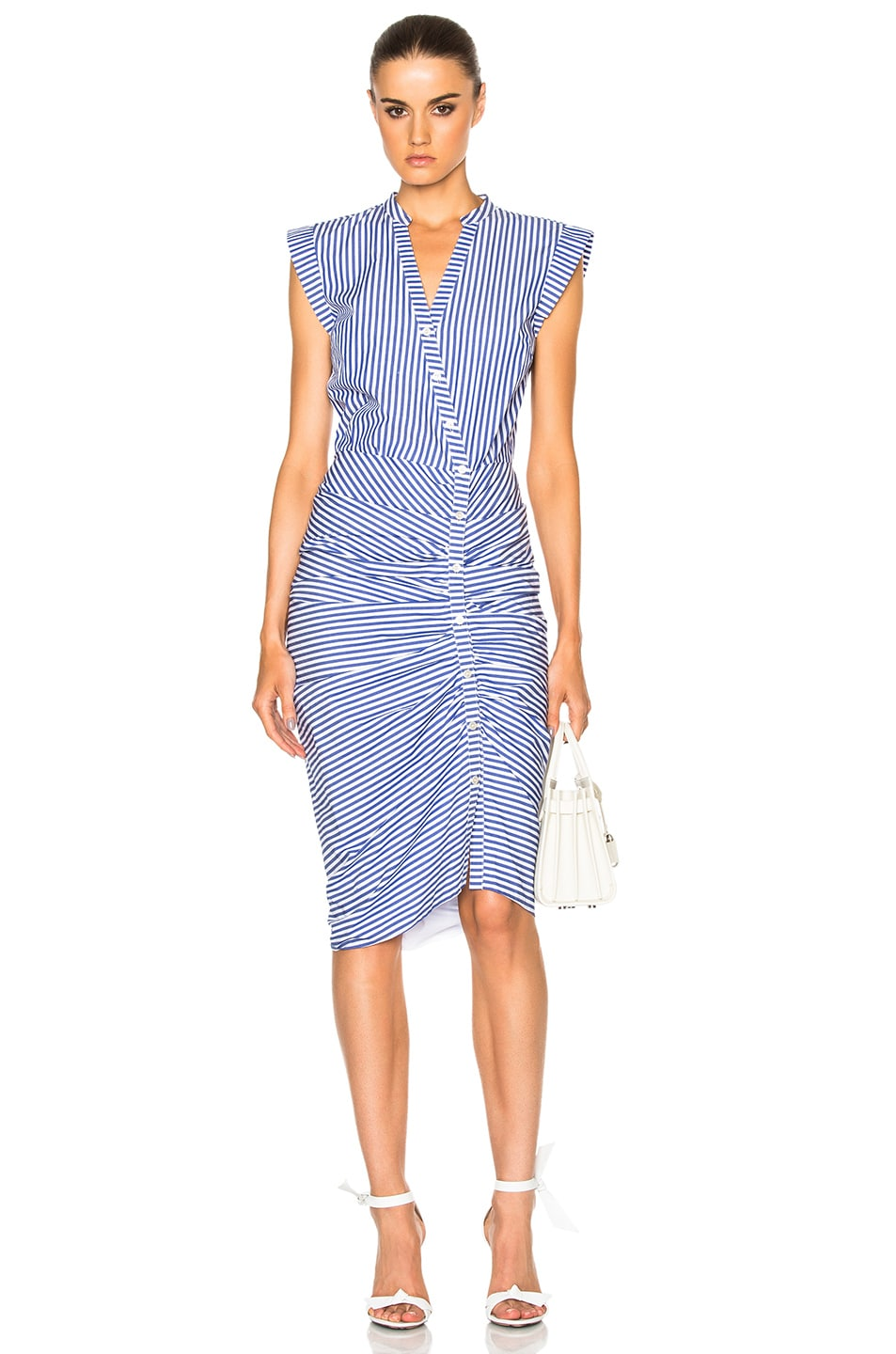 Image 1 of Veronica Beard Ruched Shirt Dress in Blue & White Stripe
