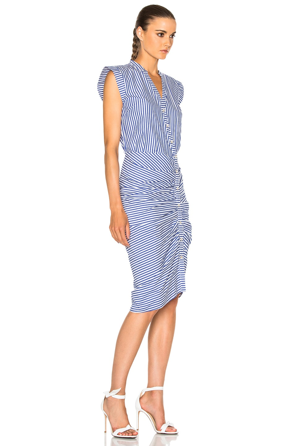 Veronica Beard Ruched Shirt Dress In Blue White Stripe Fwrd