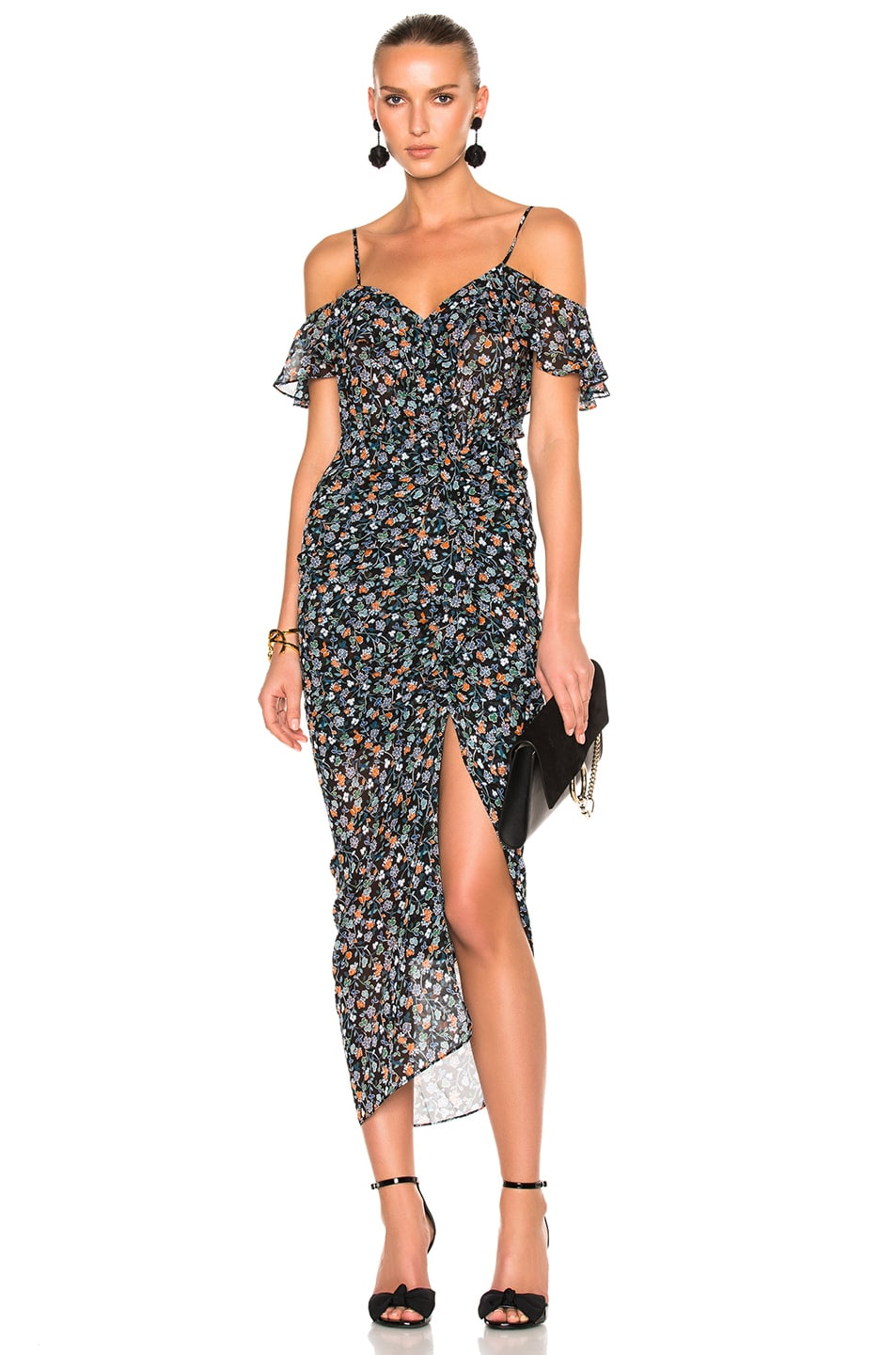Image 1 of Veronica Beard Marilyn Cold Shoulder Ruffle Midi Dress in Black Multi