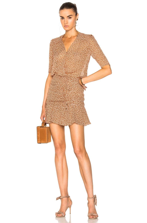 c88be61396a Image 1 of Veronica Beard Dakota Flounce Dress in Rust   Cream