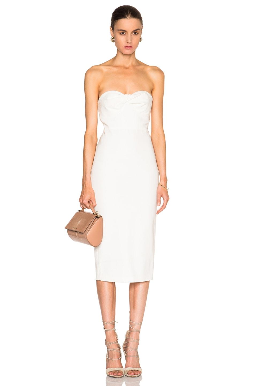 826a1203df Image 1 of Veronica Beard Edelia Twist Bandeau Bustier Dress in White