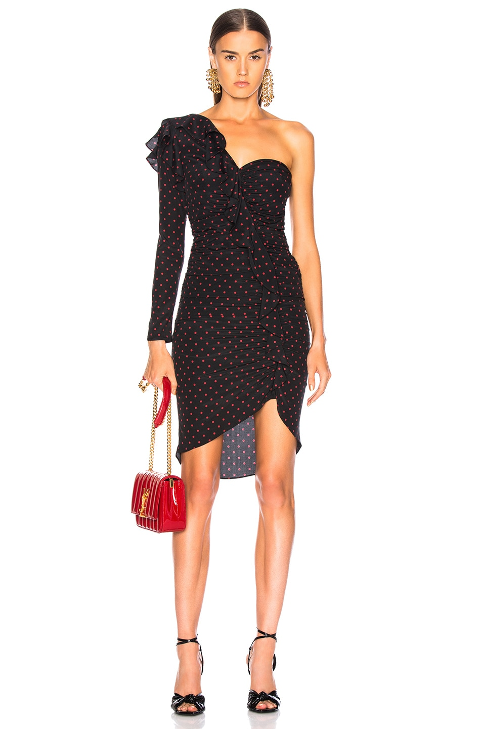 Image 1 of Veronica Beard Leona Dress in Black & Red