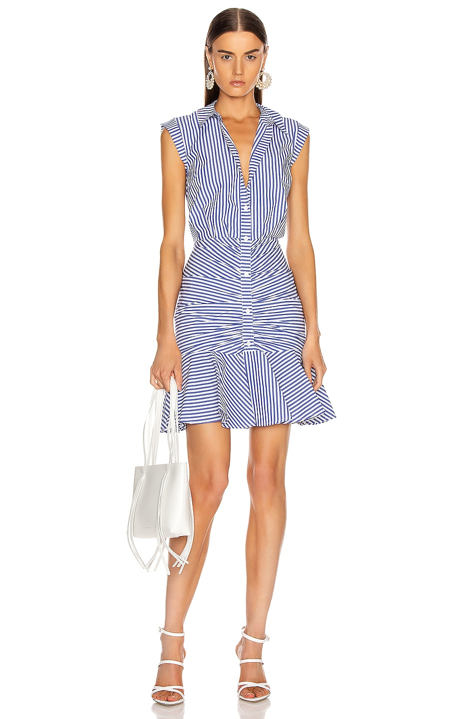 Image 1 of Veronica Beard Bell Bottom Ruched Dress in Blue & White Stripe