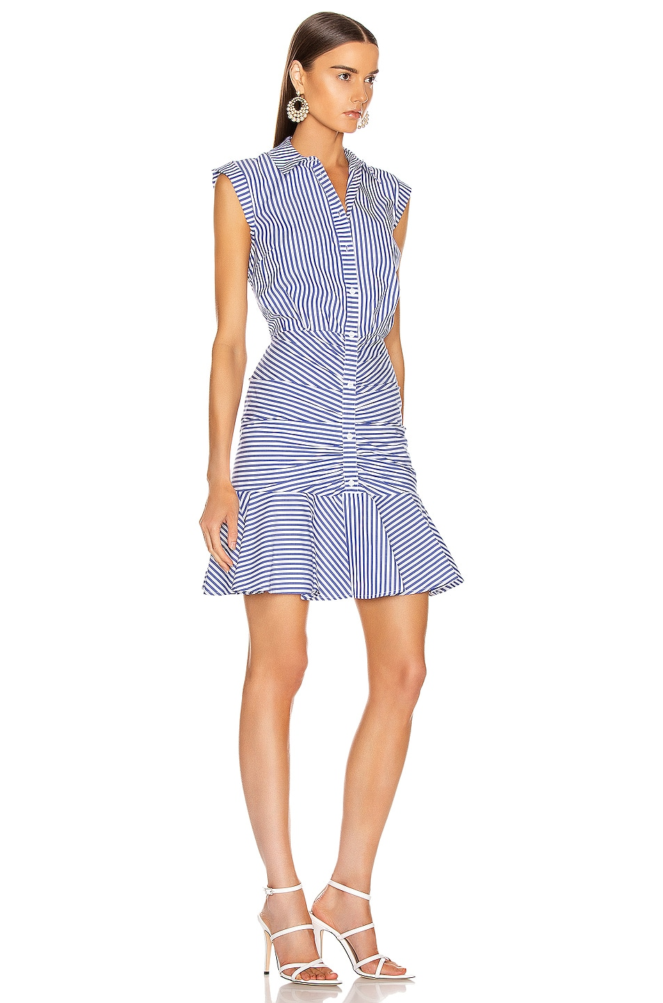 Image 2 of Veronica Beard Bell Bottom Ruched Dress in Blue & White Stripe