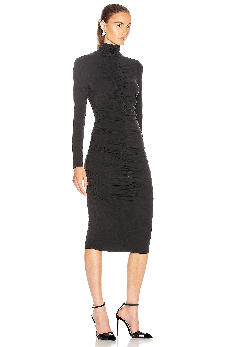 Image 2 of Veronica Beard Elm Turtleneck Midi Dress in Black