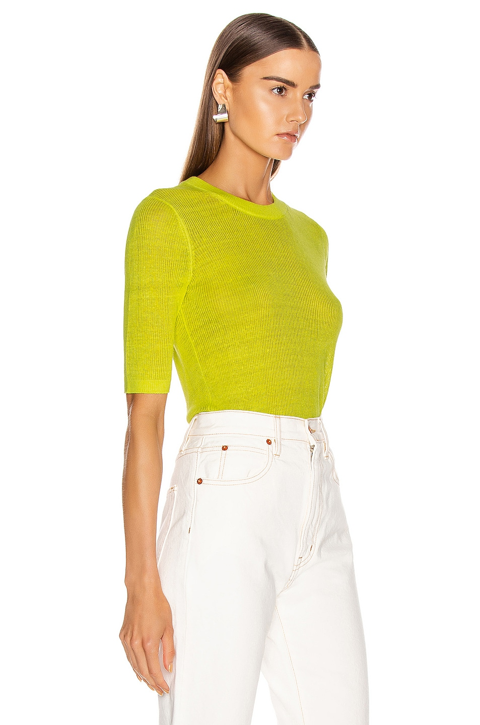 Image 2 of Veronica Beard Dean Sweater in Chartreuse