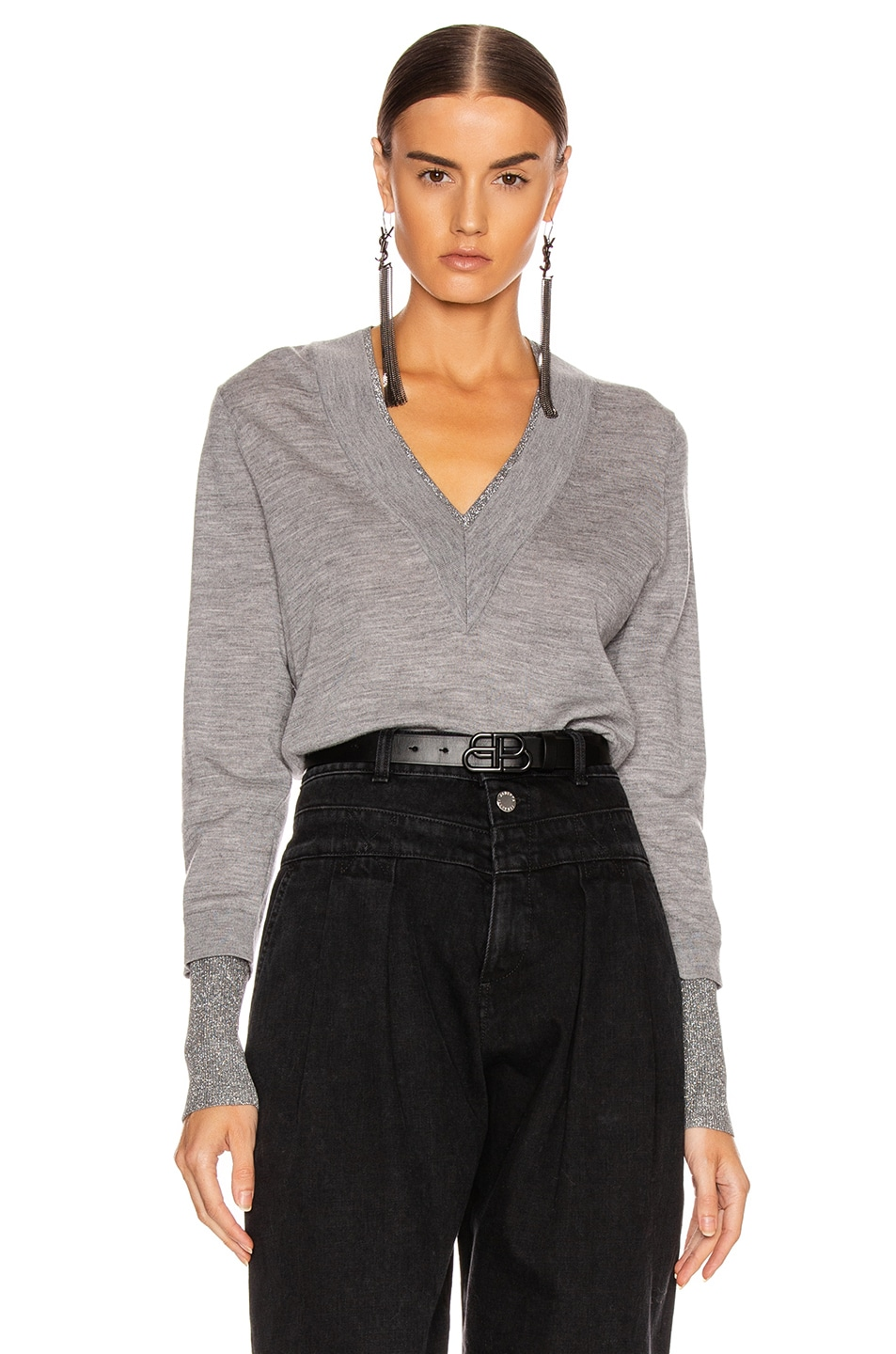 Image 1 of Veronica Beard Tatiana V-Neck Pullover Sweater in Grey Melange