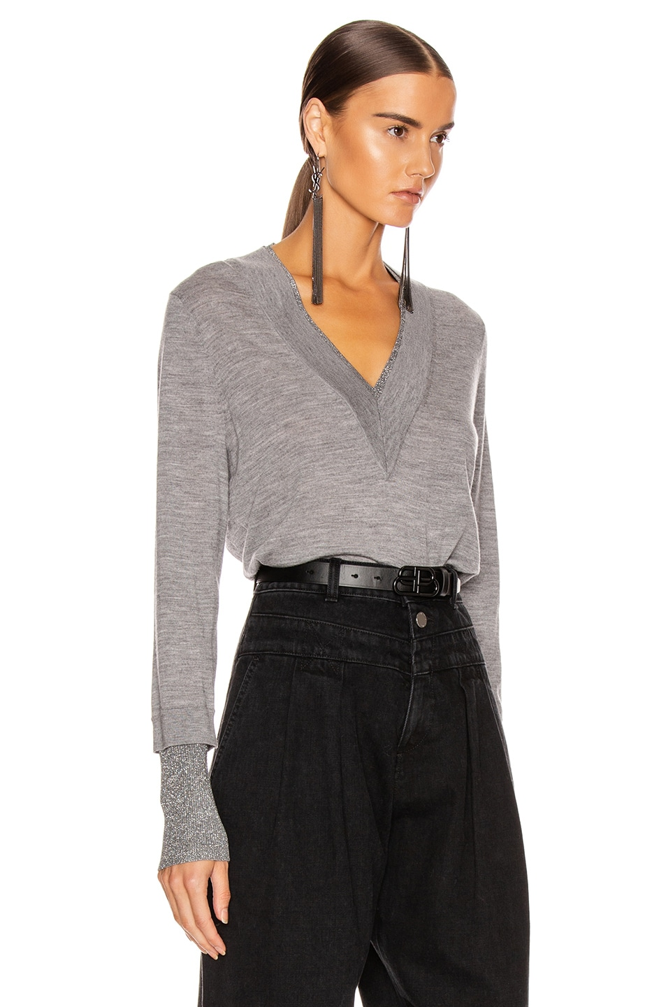 Image 2 of Veronica Beard Tatiana V-Neck Pullover Sweater in Grey Melange