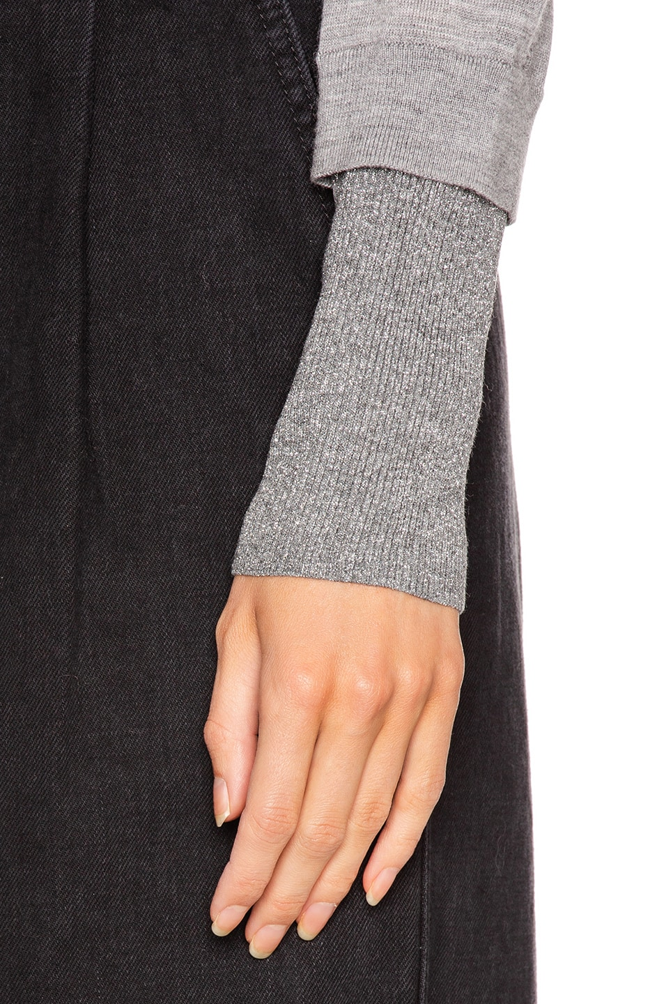 Image 5 of Veronica Beard Tatiana V-Neck Pullover Sweater in Grey Melange