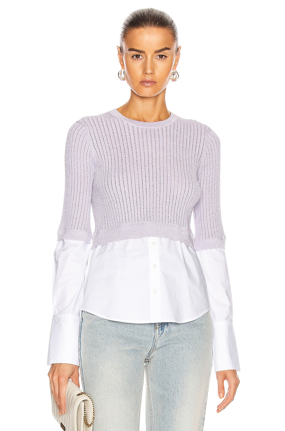 Image 1 of Veronica Beard Kaley Mixed Media Sweater in Lilac