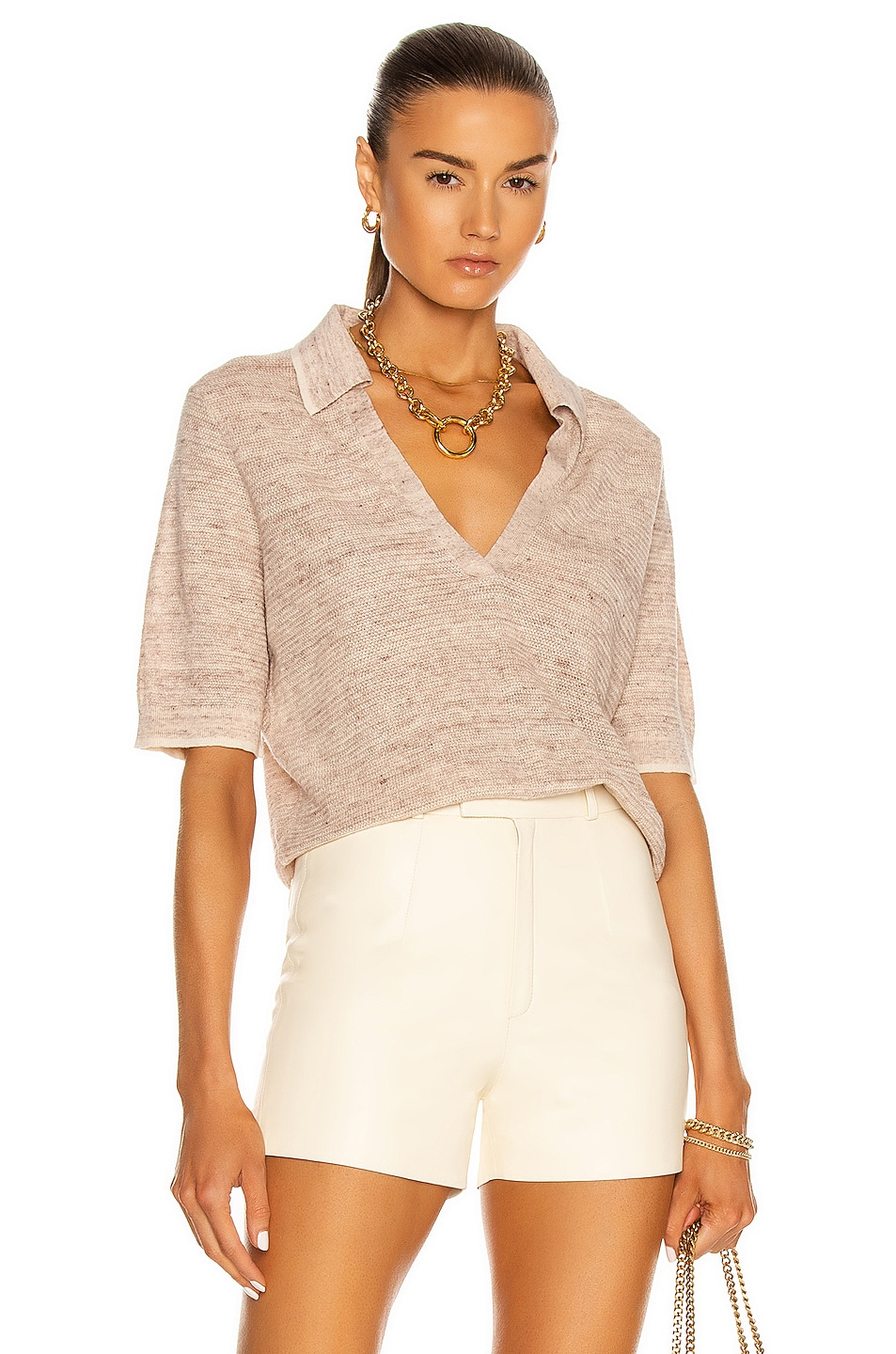 Image 1 of Veronica Beard Issa Polo Sweater in Brown