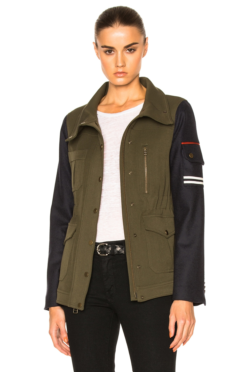 Image 1 of Veronica Beard Skyline Combo Sleeve Army Jacket in Green