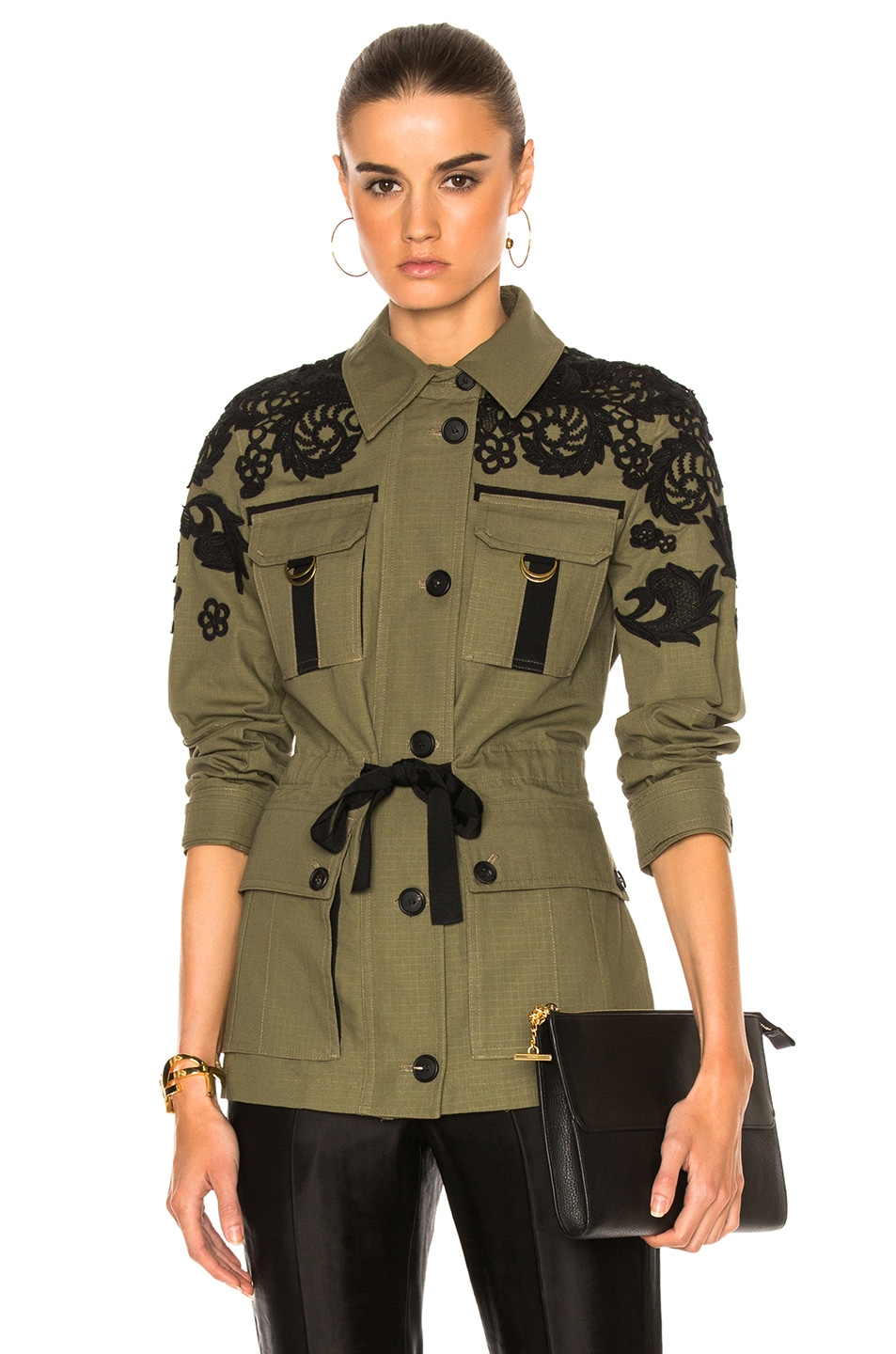 Image 1 of Veronica Beard Heritage Utility Jacket with Lace in Army Green