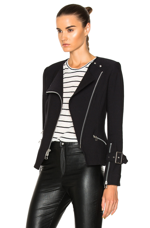 Image 4 of Veronica Beard Jordan Collarless Moto Jacket in Black
