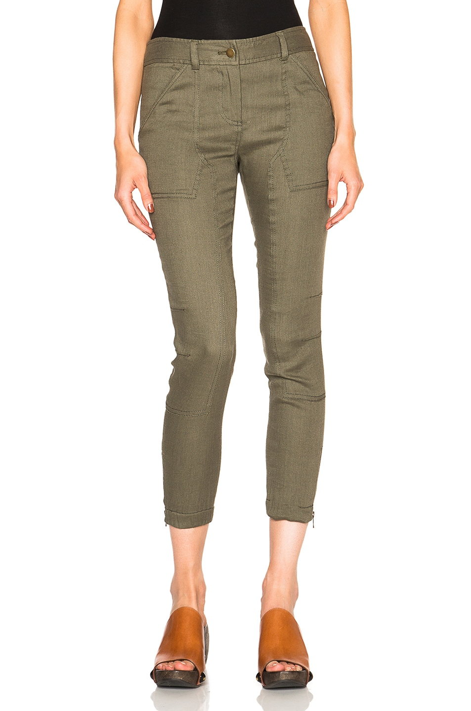 Image 1 of Veronica Beard Caladium Cargo Pants in Army Green