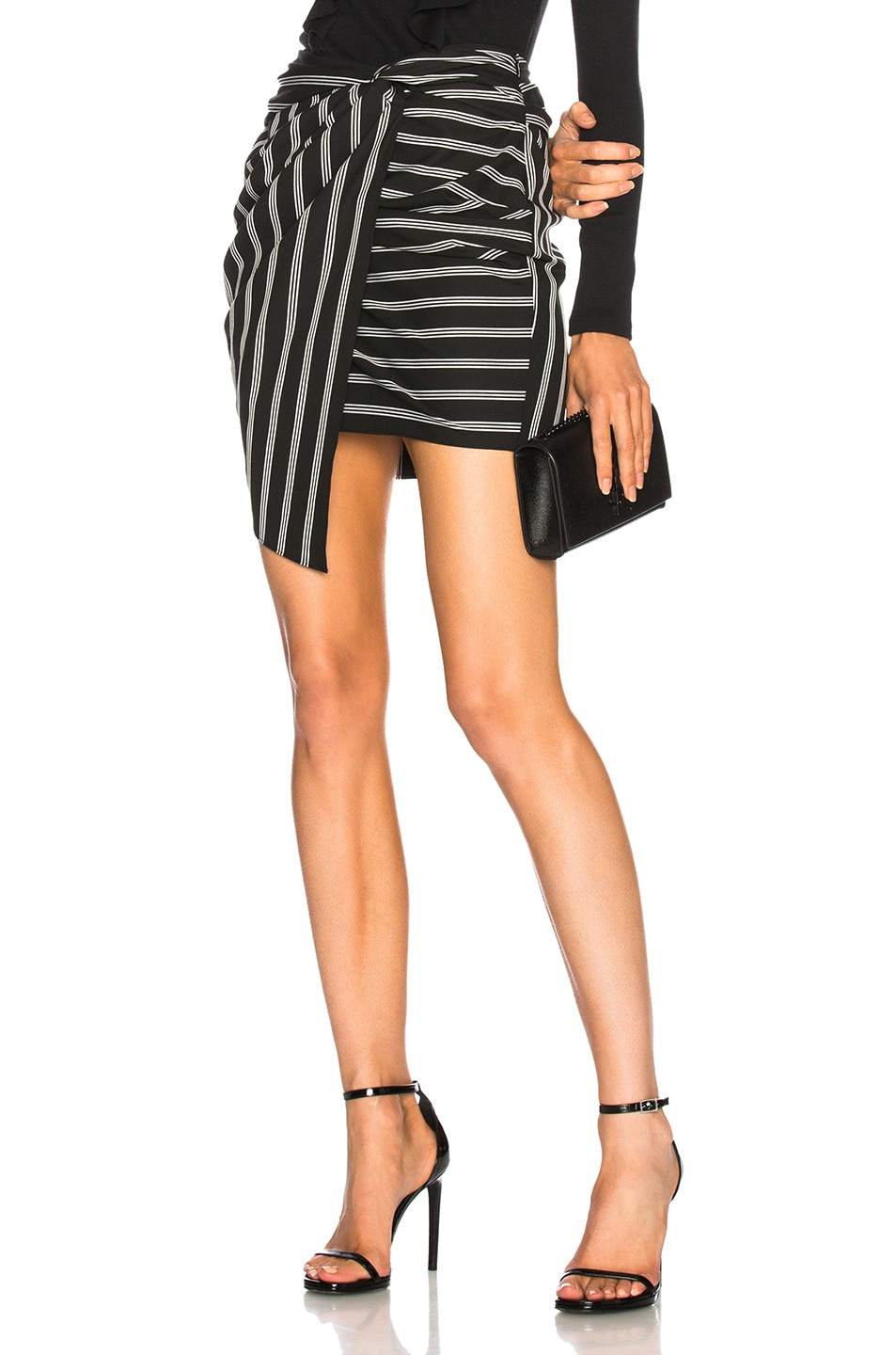 VERONICA BEARD AIDA MINI SKIRT IN BLACK,STRIPES