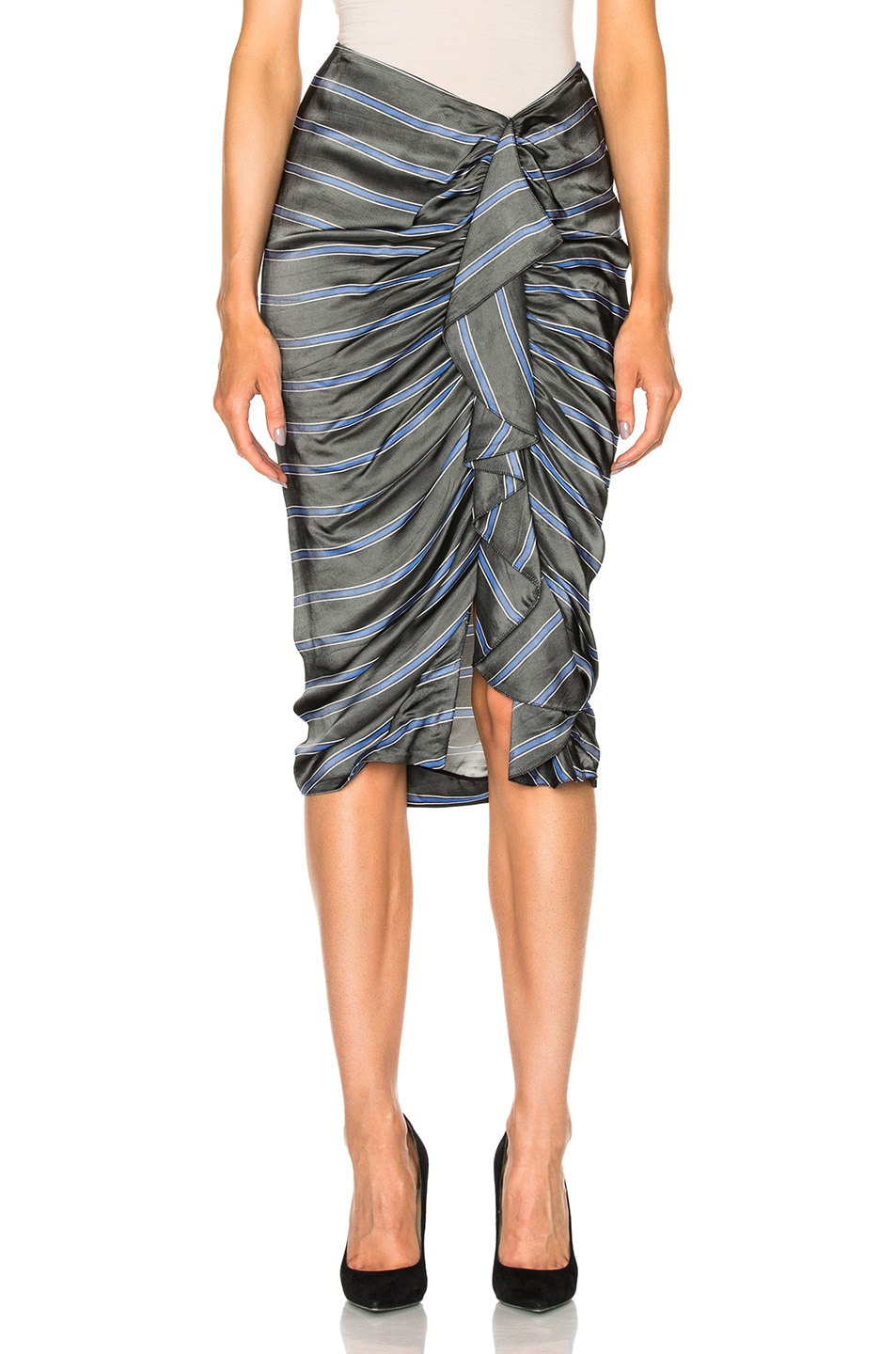 Image 1 of Veronica Beard Drew Cascade Ruffle Pencil Skirt in Black, Blue & White Stripes