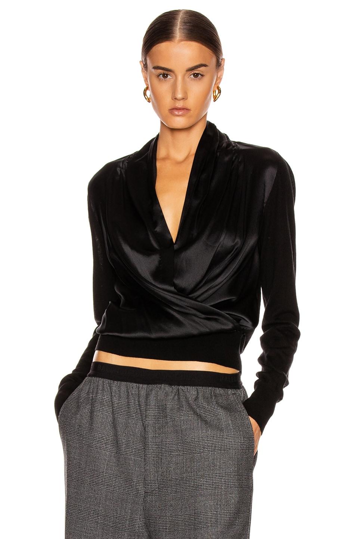 Image 1 of Veronica Beard Ingrid Mixed Media Top in Black