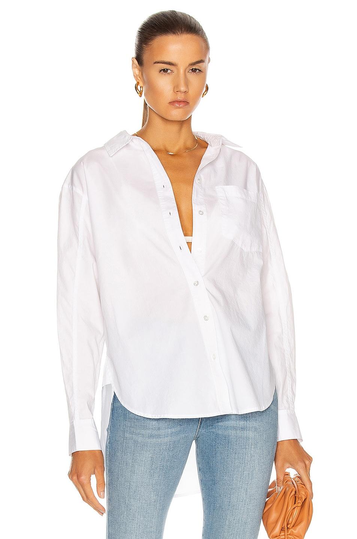 Image 1 of Veronica Beard Keiko Button Down Top in White