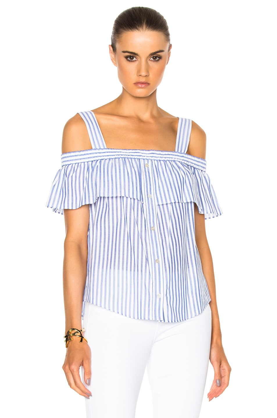 68dfc88a69a55 Image 1 of Veronica Beard Lacey Cold Shoulder Top in Blue   White Stripes
